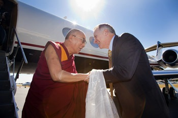 His Holiness the Dalai Lama greeted on his arrival in Atlanta by Emory University's President Dr. James W. Wagner on October 16th, 2010. Photo/Emory University