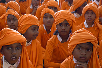 Image result for meeting of a village swami with red turban in tamilnadu