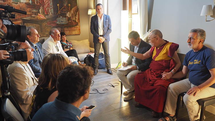 His Holiness the Dalai Lama speaking to members of the press at his hotel in Taormina, Sicily, Italy on September 16, 2017. Photo by Jeremy Russell
