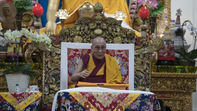 His Holiness the Dalai Lama speaking on the first day of his teachings at the Main Tibetan Temple in Dharamsala, HP, India on October 3, 2106. Photo/Tenzin Choejor/OHHDL