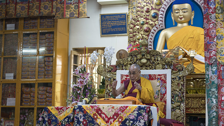 His Holiness the Dalai Lama speaking on the second day of his teachings at the Main Tibetan Temple in Dharamsala, HP, India on October 4, 2016. Photo/Tenzin Choejor/OHHDL