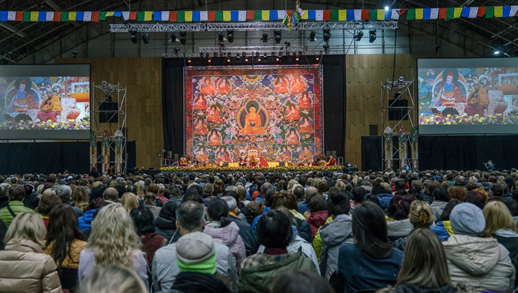 A view from the rear of Skonto Hall during His Holiness the Dalai Lama's teaching in Riga, Latvia on October 10, 2016. Photo/Tenzin Choejor/OHHDL