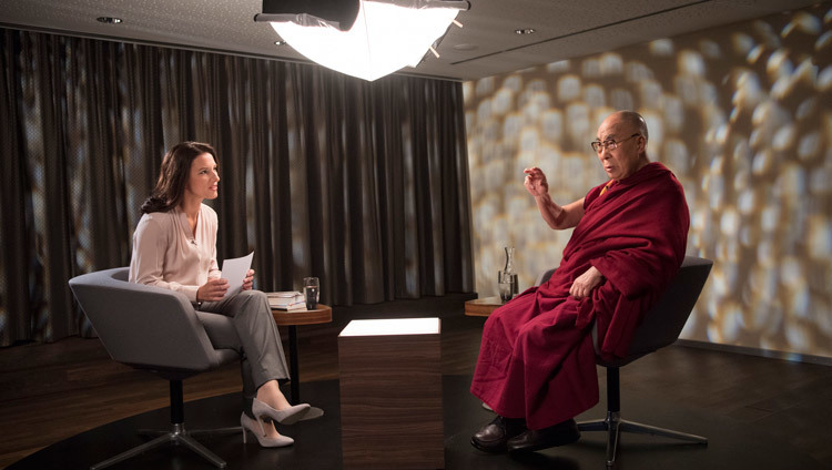 His Holiness the Dalai Lama giving an interview to Amira Hafner-Al Jabaji for the Swiss National TV programme Sternstunde Philosophie in Bern, Switzerland on October 13, 2016. Photo/Manuel Bauer