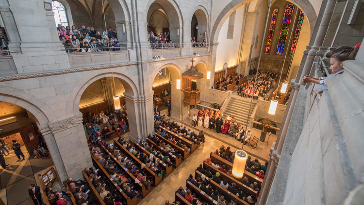 A View of Grossmuenster Church during inter-faith prayers for world peace with His Holiness the Dalai Lama in Zurich, Switzerland on October 15, 2016. Photo/Manuel Bauer