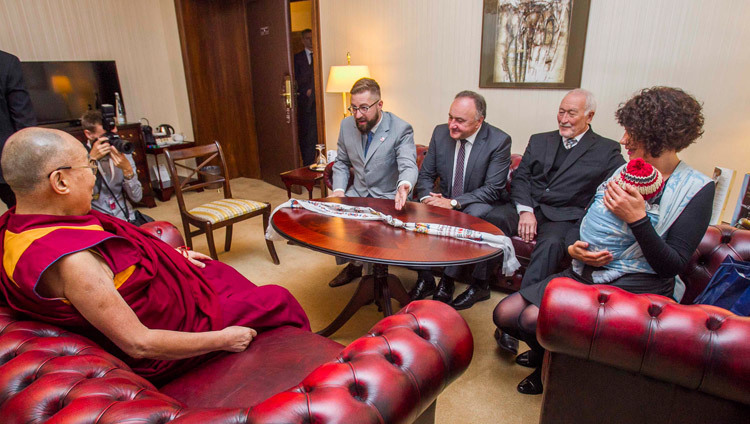 His Holiness the Dalai Lama meeting with an official Slovakian Parliamentary delegation at his hotel in Bratislava, Slovakia on October 16, 2016. Photo/Somogyi