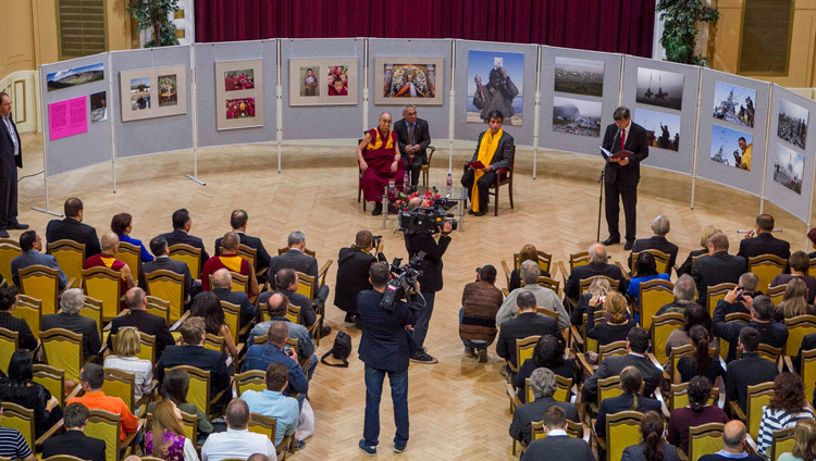 His Holiness the Dalai Lama at Comenius University in Bratislava, Slovakia on October 16, 2016. Photo/Somogyi