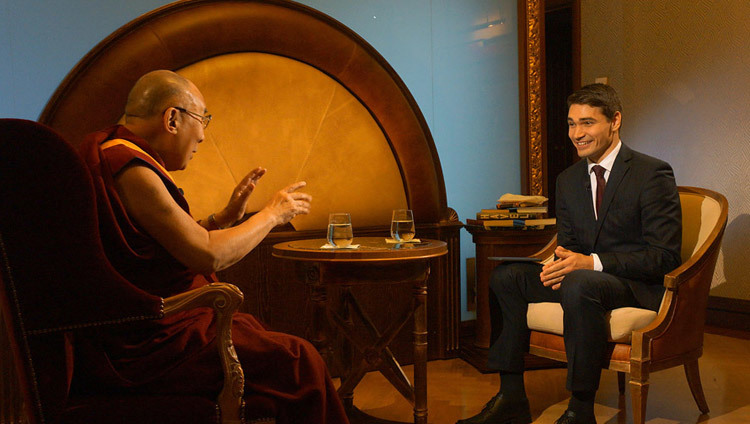 His Holiness the Dalai Lama being interviewed for Czech TV24 in Prague, Czech Republic on October 17, 2016. Photo/Jeremy Russell/OHHDL