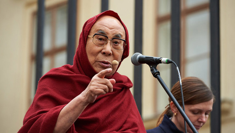 His Holiness the Dalai Lama speaking at Hradcanske Square in Prague, Czech Republic on October 17, 2016. Photo/Olivier Adam