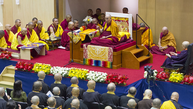 His Holiness the Dalai Lama on the first day of his three day teaching at Seifu High School auditorium in Osaka, Japan on November 11, 2016. Photo/Jigme Choephel