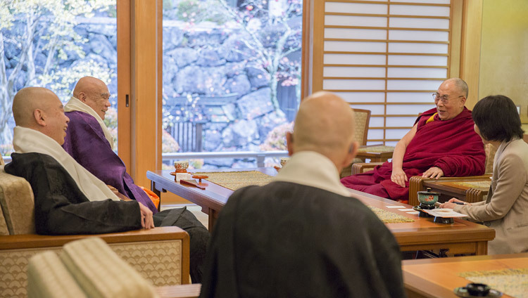His Holiness the Dalai Lama speaking with senior priests at the main temple in Koyasan, Japan on November 14, 2016. Photo/Jigme Choephel