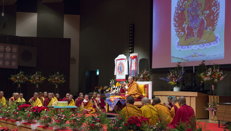 His Holiness the Dalai Lama speaking at the main hall in Koyasan, Japan on November 14, 2016. Photo/Jigme Choephel