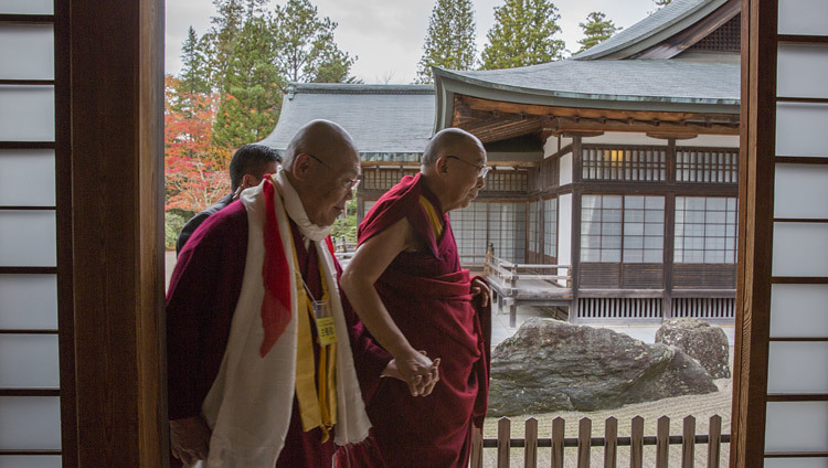His Holiness the Dalai Lama walking with senior priests at the conclusion of his teaching at the main temple in Koyasan, Japan on November 14, 2016. Photo/Jigme Choephel