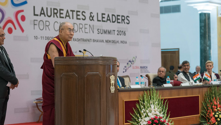 His Holiness the Dalai Lama speaking at the  Laureates and Leaders for Children Summit in New Delhi, India on December 10, 2016. Photo/Tenzin Choejor/OHHDL