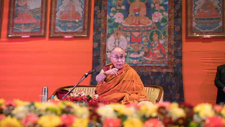 His Holiness the Dalai Lama speaking at Tushita Meditation Centre's 21st Dharma Celebration at the Ashoka Hotel in New Delhi, India on December 11, 2016. Photo/Tenzin Choejor/OHHD