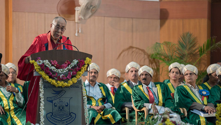 His Holiness the Dalai Lama addressing the 97th Convocation at the University of Mysore in Mysuru, Karnataka, India on December 13, 2016. Photo/Tenzin Choejor/OHHDL