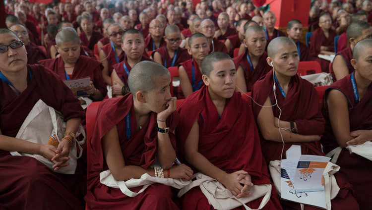 Some of the 260 nuns among the 3000 people attending the Emory Tibet Symposium listening to His Holiness the Dalai Lama speaking at Drepung Loseling in Mundgod, Karnataka, India on December 18, 2016. Photo/Tenzin Choejor/OHHDL