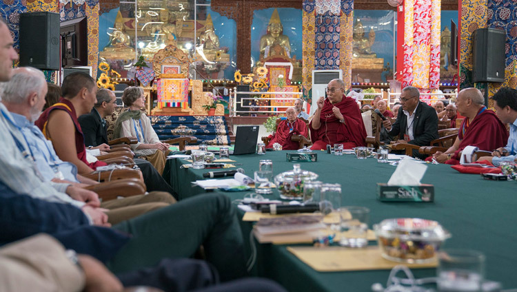 His Holiness the Dalai Lama commenting on anthropologist Carol Worthman's presentation at the Emory Tibet Symposium at Drepung Loseling in Mundgod, Karnataka, India on December 18, 2016. Photo/Tenzin Choejor/OHHDL