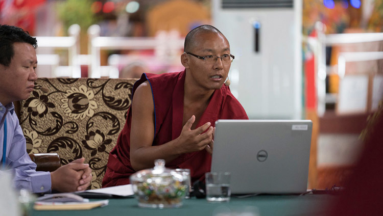 Ven Thabkhe delivering his presentation on the second day of the Emory Tibet Symposium at Drepung Loseling in Mundgod, Karnataka, India on December 19, 2016. Photo/Tenzin Choejor/OHHDL