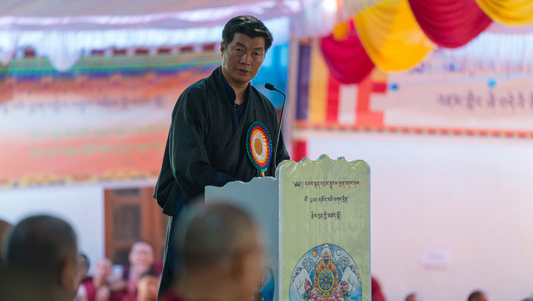 Sikyong Dr Lobsang Sangay speaking during ceremonies celebrating the 600h Anniversary of the founding of Drepung Monastery in Mundgod, Karnataka, India on December 21, 2016. Photo/Tenzin Choejor/OHHDL