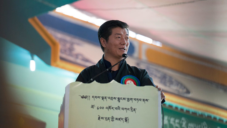 Sikyong Dr Lobsang Sangay speaking at the ceremony to award nuns the first Geshe-ma degrees at Drepung Lachi in Mundgod, Karnataka, India on December 22, 2016. Photo/Tenzin Choejor/OHHDL