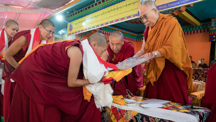 Each of the Geshe-mas receiving their degrees from His Holiness the Dalai Lama at Drepung Lachi in Mundgod, Karnataka, India on December 22, 2016. Photo/Tenzin Choejor/OHHDL