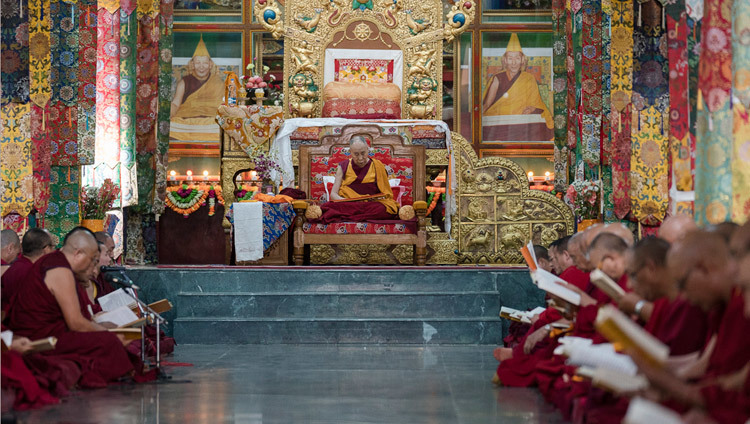His Holiness the Dalai Lama joining elder monks in recitations of texts by Je Tsongkhapa on the occasion of Ganden Ngacho at Ganden Lachi Monastery in Mundgod, Karnataka, India on December 23, 2016. Photo/Tenzin Choejor/OHHDL