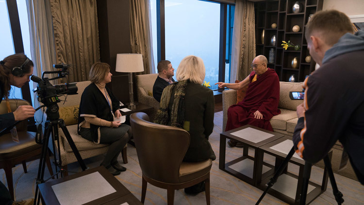 His Holiness the Dalai Lama giving an interview to Lenta.Ru in Delhi, India on December 25, 2016. Photo/Tenzin Choejor/OHHDL