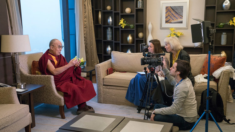 Oksana Shemleva of Russian Television's Channel 1 interviewing His Holiness the Dalai Lama in Delhi, India on December 27, 2016. Photo/Tenzin Choejor/OHHDL