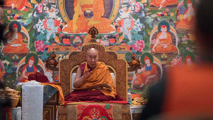 His Holiness the Dalai Lama speaking on the final day of his teaching for Russian Buddhists in Delhi, India on December 27, 2016. Photo/Tenzin Choejor/OHHDL