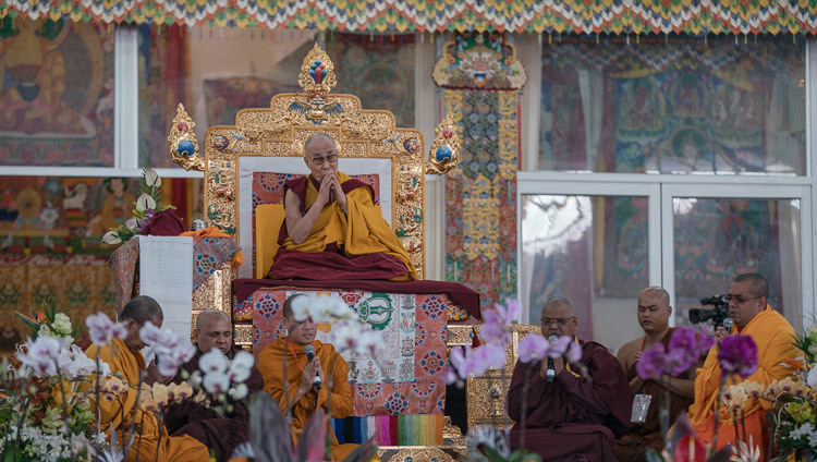 Theravada monks reciting the Mangala Sutta in Pali at the start of His Holiness the Dalai Lama's teachings preliminary to the Kalachakra Empowerment in Bodhgaya, Bihar, India on January 5, 2017. Photo/Tenzin Choejor/OHHDL