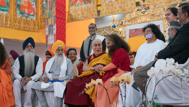 His Holiness the Dalai Lama meeting with religious leaders at the Kalachakra teaching ground in Bodhgaya, Bihar, India on January 6, 2017. Photo/Tenzin Choejor/OHHDL