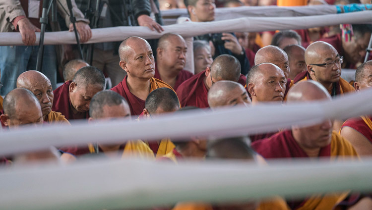 Some of the thousands of monks attending the third day of His Holiness the Dalai Lama's  preliminary teachings for the Kalachakra Empowerment in Bodhgaya, Bihar, India on January 7, 2017. Photo/Tenzin Choejor/OHHDL