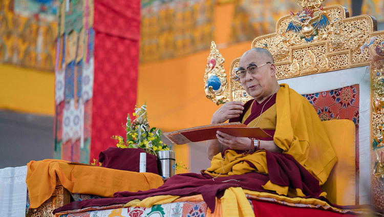 His Holiness the Dalai Lama during the third day of his preliminary teachings for the Kalachakra Empowerment in Bodhgaya, Bihar, India on January 7, 2017. Photo/Tenzin Choejor/OHHDL