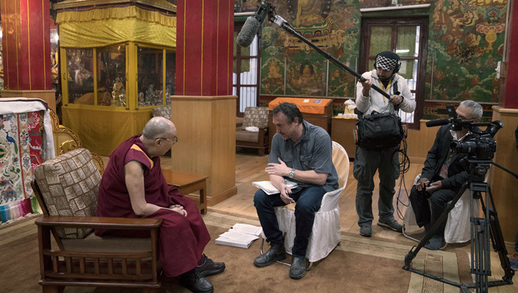Michael Ware interviewing His Holiness the Dalai Lama for National Geographic Television in Bodhgaya, Bihar, India on January 11, 2017. Photo/Tenzin Choejor/OHHDL