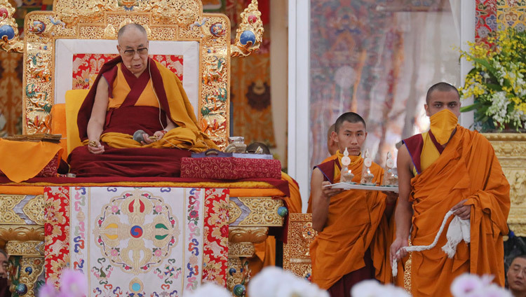 His Holiness the Dalai Lama on the first day of the Kalachakra Empowerment, Entry into the Mandala, in Bodhgaya, Bihar, India on January 11, 2017. Photo/Ven Lobsang Kunga/OHHDL