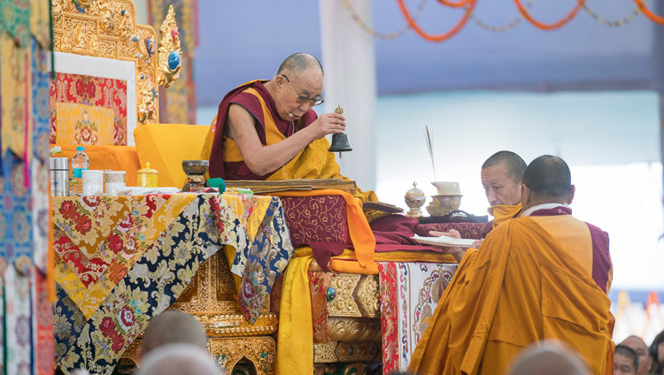 His Holiness the Dalai Lama during the second day of the Kalachakra Empowerment, Seven Empowerments in the Pattern of Childhood, in Bodhgaya, Bihar, India on January 12, 2017. Photo/Tenzin Choejor/OHHDL