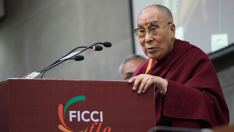 His Holiness the Dalai Lama speaking to the Ladies Wing of the Federation of Indian Chamber and Commerce and Industries in New Delhi, India on January 21, 2017. Photo/Tenzin Choejor/OHHDL