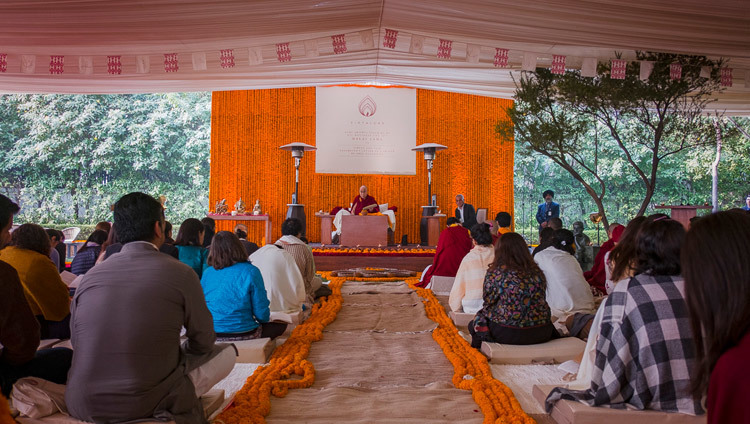 His Holiness the Dalai Lama speaking at the Vidyaloke teachings in New Delhi, India on February 3, 2017. Photo/Tenzin Choejor/OHHDL