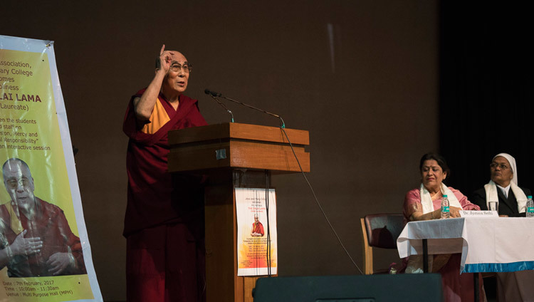 His Holiness the Dalai Lama speaking to students and teachers and Jesus & Mary College in New Delhi,India on February 7, 2017. Photo/Tenzin Choejor/OHHDL