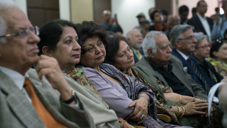 Members of the audience listening to His Holiness the Dalai Lama at the Vivekananda International Foundation in New Delhi, India on February 8, 2017. Photo/Tenzin Choejor/OHHDL