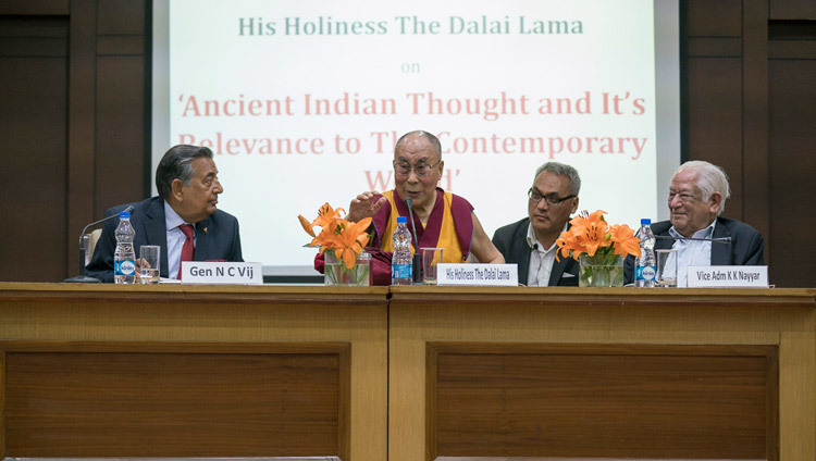 His Holiness the Dalai Lama answering questions from the audience during his talk at the Vivekananda International Foundation in New Delhi, India on February 8, 2017. Photo/Tenzin Choejor/OHHDL