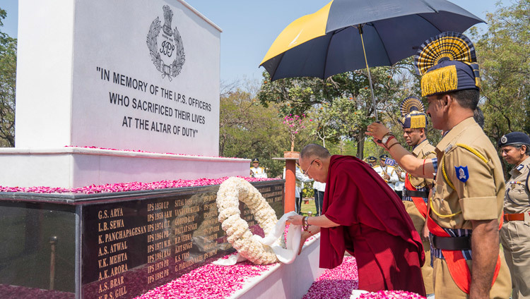 His Holiness the Dalai Lama laying a wreath at the Martyr's Memorial at the Sardar Vallabhbhai Patel National Police Academy in Hyderabad, Telangana, India on February 11, 2017. Photo by Tenzin Choejor/OHHDL