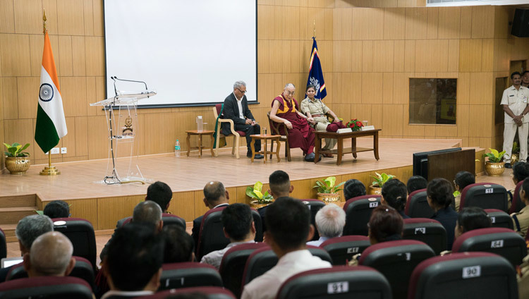 His Holiness the Dalai Lama speaking at the Sardar Vallabhbhai Patel National Police Academy in Hyderabad, Telangana, India on February 11, 2017. Photo by Tenzin Choejor/OHHDL