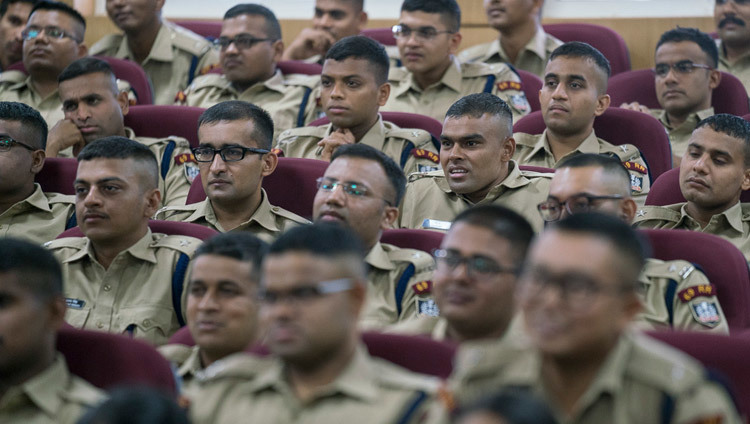 IPS officer trainees listening to His Holiness the Dalai Lama at the Sardar Vallabhbhai Patel National Police Academy in Hyderabad, Telangana, India on February 11, 2017. Photo by Tenzin Choejor/OHHDL