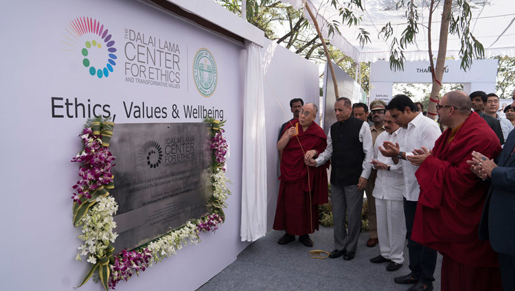 His Holiness the Dalai Lama and Governor of Telangana State HE ESL Narasimhan unveiling the foundation stone for the South Asia Hub of The Dalai Lama Center for Ethics in Hyderabad, Telangana, India on February 12, 2017. Photo by Tenzin Choejor/OHHDL