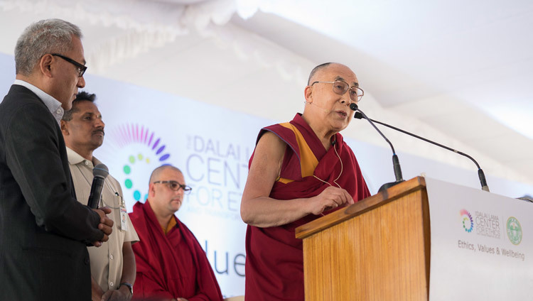 His Holiness the Dalai Lama speaking at the HITEX Open Arena in Hyderabad, Telangana, India on February 12, 2017. Photo by Tenzin Choejor/OHHDL