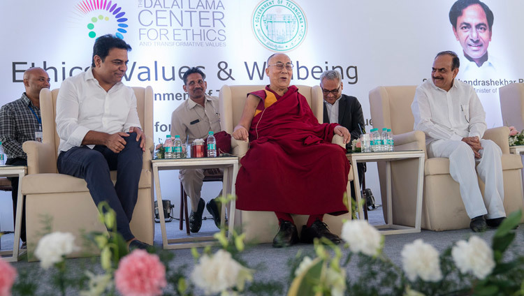 His Holiness the Dalai Lama answering questions from the audience during his talk at the HITEX Open Arena in Hyderabad, Telangana, India on February 12, 2017. Photo by Tenzin Choejor/OHHDL