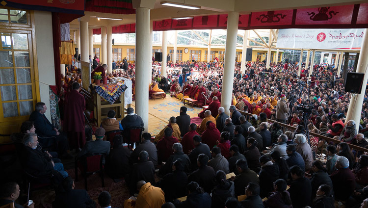 A view of the Tsuglagkhang courtyard during His Holiness the Dalai Lama's teachings in Dharamsala, HP, India, on March 12, 2017. Photo by Tenzin Choejor/OHHDL
