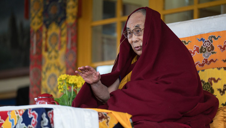 His Holiness the Dalai Lama during his teachings at the Tsuglagkhang courtyard in Dharamsala, HP, India, on March 12, 2017. Photo by Tenzin Choejor/OHHDL