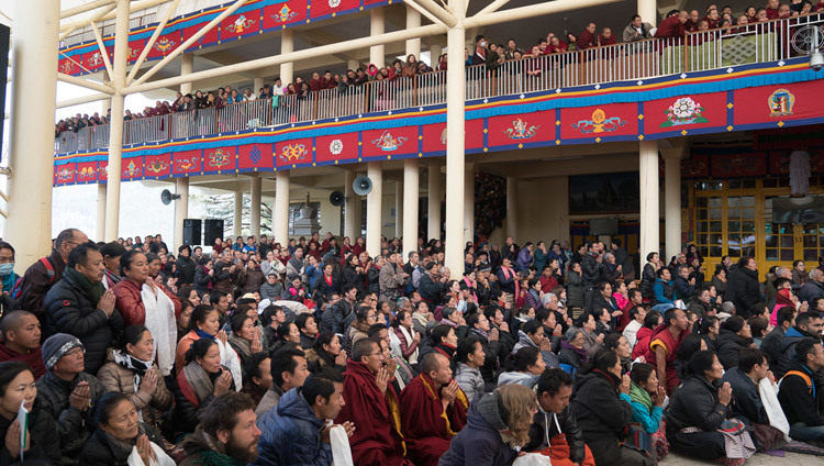 Some of several thousand gathered in the courtyard waiting for His Holiness the Dalai Lama to depart from the Main Tibetan Temple at the conclusion of the first day of his two day teaching in Dharamsala, HP, India on March 13, 2017. Photo by Tenzin Choejor/OHHDL